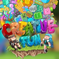 The logo for CreativeFun, a creative roleplay minecraft server averaging at 300 online players